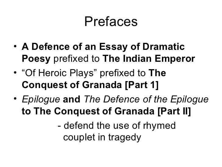 john dryden essay on dramatic poesy sparknotes