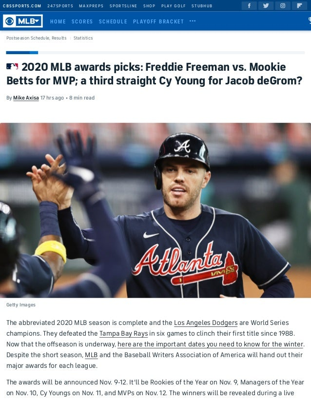 2020 MLB awards picks: Freddie Freeman vs. Mookie Betts for MVP; a third straight Cy Young for Jacob deGrom? By Mike Axisa...