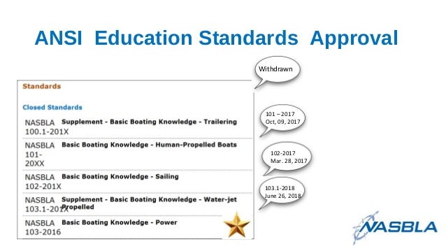 ANSI Education Standards Approval 103.1-2018 June 26, 2018 Withdrawn 101 – 2017 Oct, 09, 2017 102-2017 Mar. 28, 2017