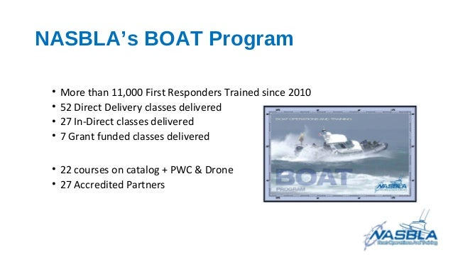 NASBLA's BOAT Program • More than 11,000 First Responders Trained since 2010 • 52 Direct Delivery classes delivered • 27 I...