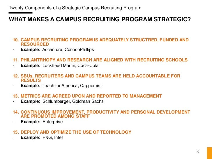 Components Of A Strategic Campus Recruiting Program