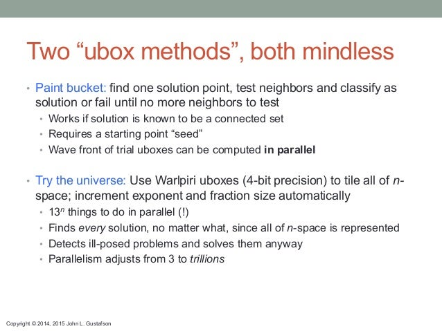 """Copyright © 2014, 2015 John L. Gustafson Two """"ubox methods"""", both mindless • Paint bucket: find one solution point, test ..."""