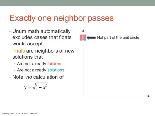 Copyright © 2014, 2015 John L. Gustafson Exactly one neighbor passes • Unum math automatically excludes cases that floats...