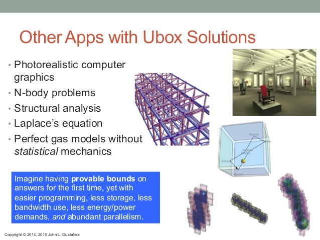 Copyright © 2014, 2015 John L. Gustafson Other Apps with Ubox Solutions Imagine having provable bounds on answers for the ...