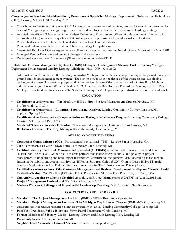 resume for john gachugu project management - Procurement Specialist Cover Letter