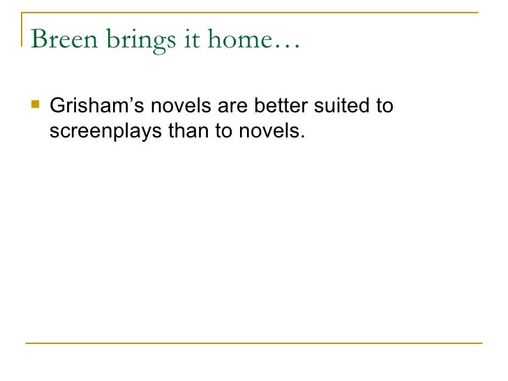 an analysis of the client a legal thriller by john grisham A plot and setting analysis of john grisham's the client 1,468  an introduction to the works by jury john grishman  a fictitious legal thriller by john grisham.
