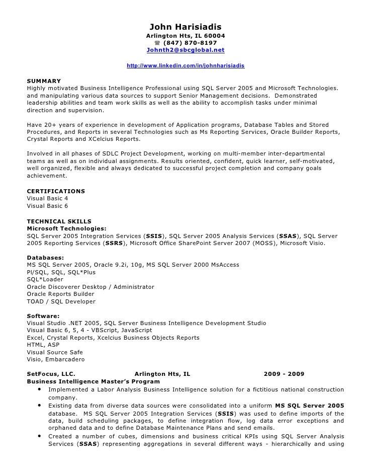 cognos resume sample template