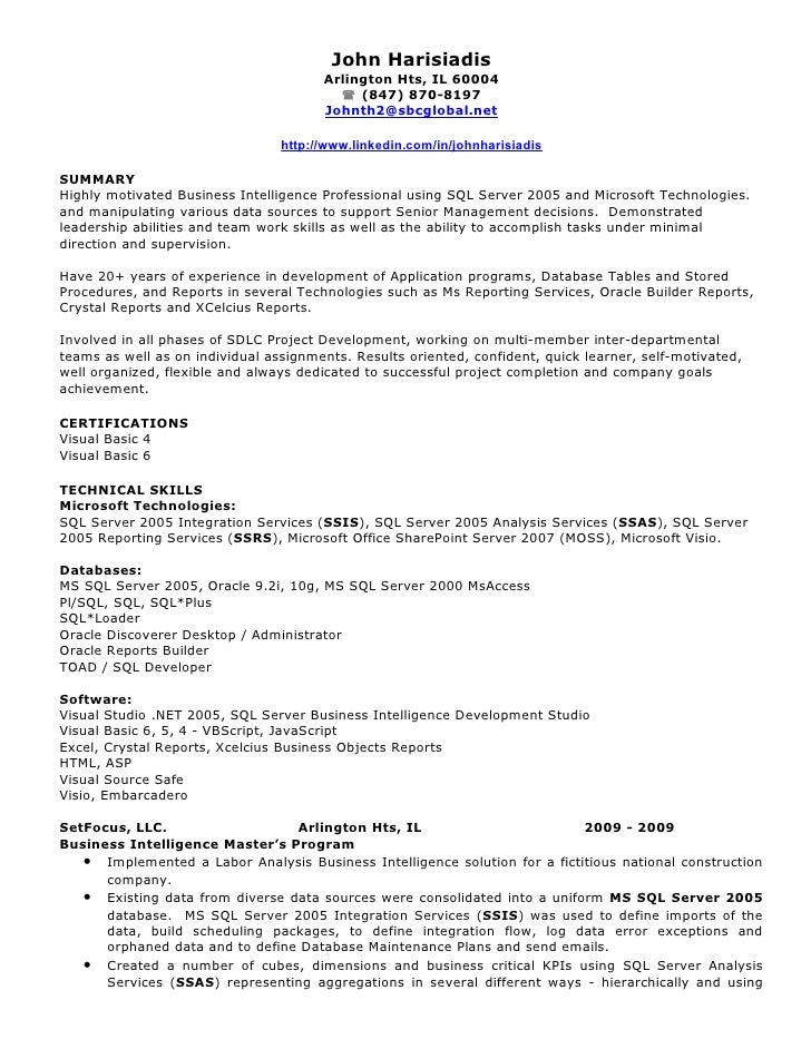 john harisiadis bi resume john harisiadis - Business Intelligence Resume