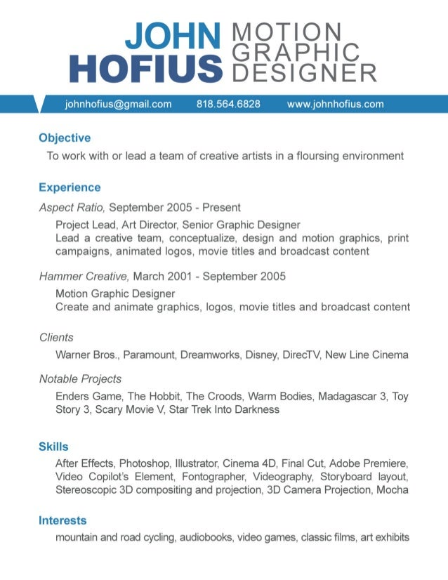 Elegant John Hofius Motion Graphic Design Resume Idea Motion Graphics Resume
