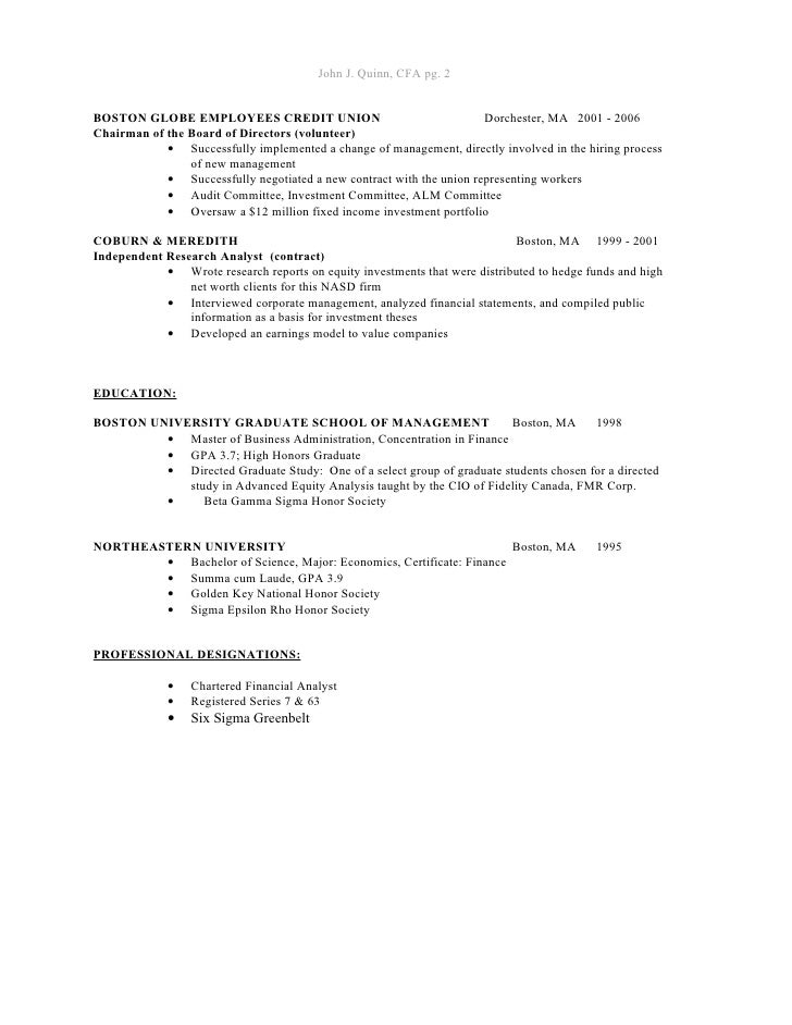 john j  quinn  cfa finance resume