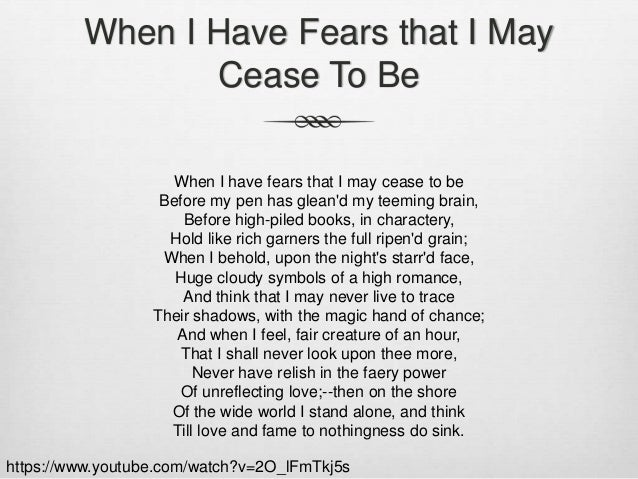 When i have fears essay