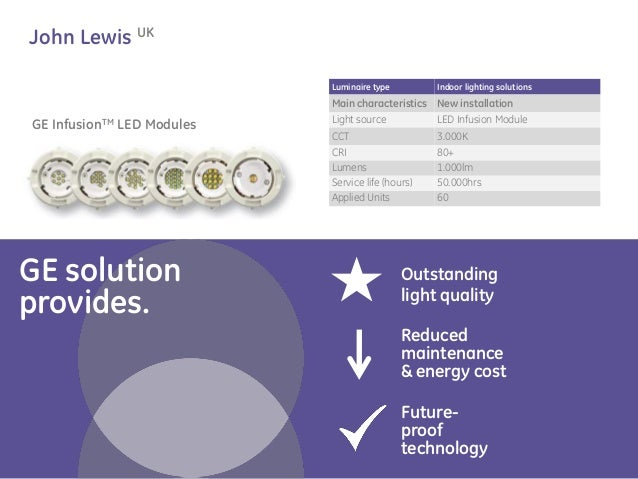 GE solution  provides.  Outstanding  light quality  John Lewis UK  Luminaire type  Indoor lighting solutions  Main charact...