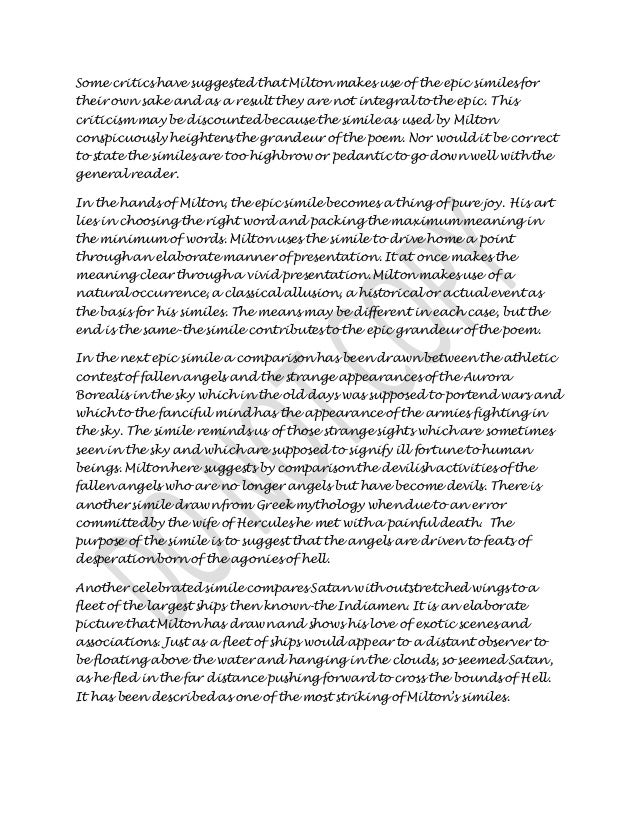 """an analysis of john miltons use of the epic simile in his book paradise lost Milton uses a large number of epic similes in """"paradise lost"""" in book ii we find a large variety of the use of epic smile it is noteworthy that each simile shows milton's art of comparison and his care of the effects of the similes he employs."""