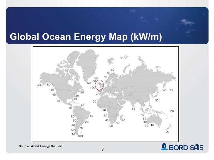 Global Ocean Energy Map (kW/m) Source: World Energy Council