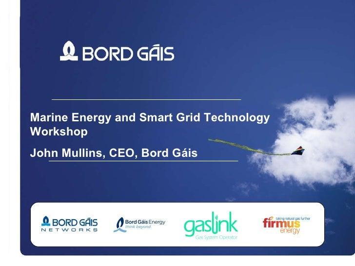 Marine Energy and Smart Grid Technology Workshop John Mullins, CEO, Bord G áis