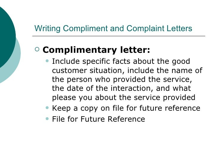 Customer Service Compliment Letter Sample