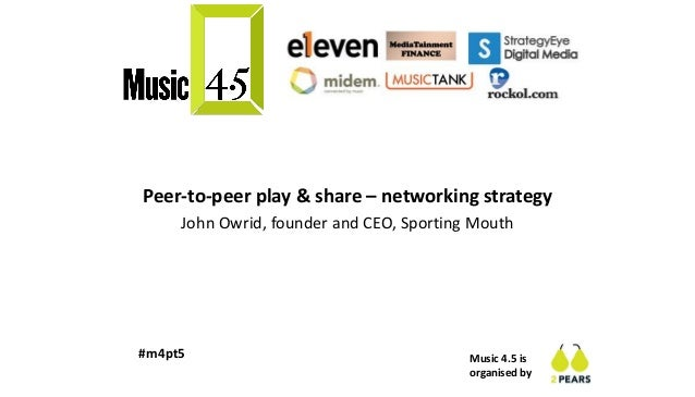 Music 4.5 is organised by #m4pt5 Peer-to-peer play & share – networking strategy John Owrid, founder and CEO, Sporting Mou...