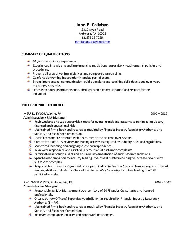 john p  callahan risk and compliance analyst resume