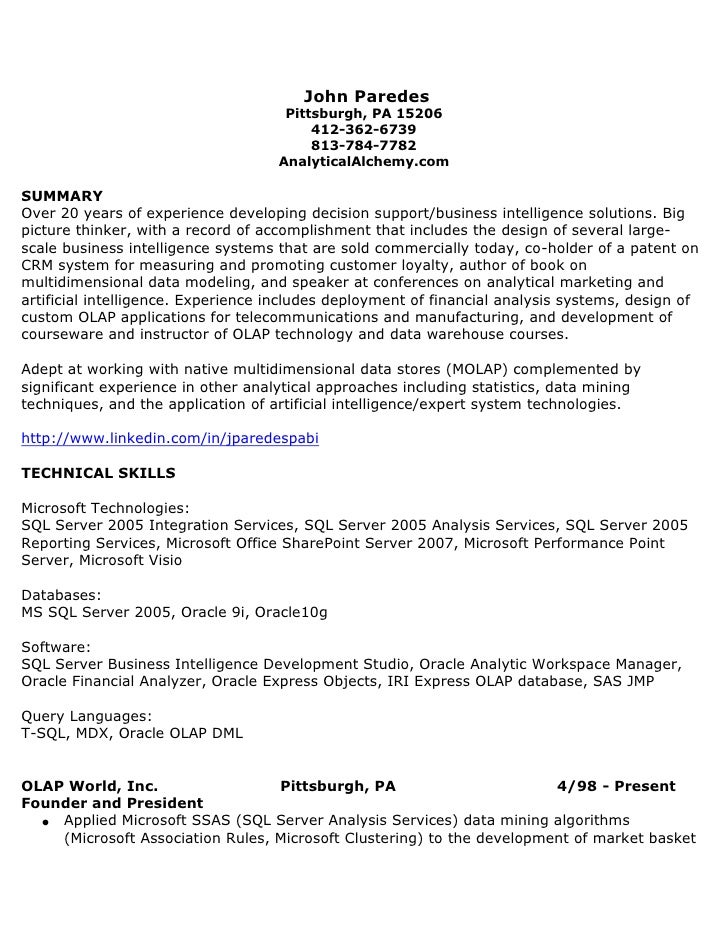 Resume Writing for SQL Server Professionals Questions   Answers Best Quantitative Analyst Resume Page