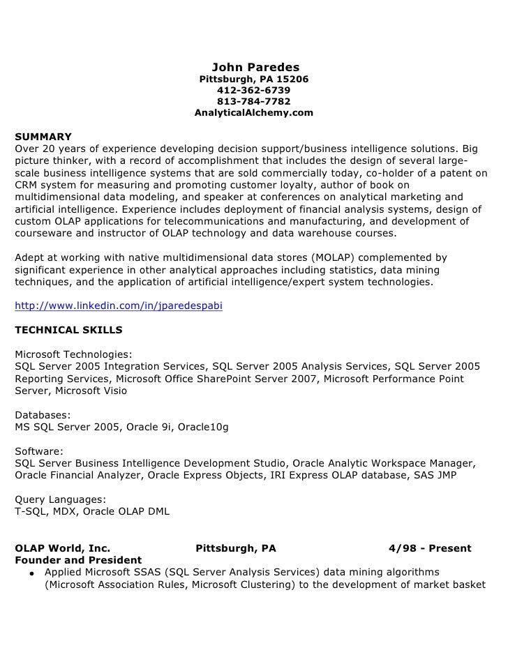 John Paredes<br />Pittsburgh, PA 15206<br />412-362-6739<br />813-784-7782<br />AnalyticalAlchemy.com<br />SUMMARY <br />...
