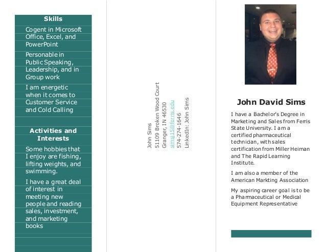 john sims resume brochure