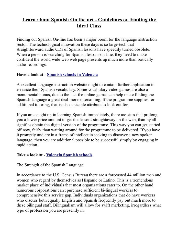 Learn about Spanish On the net - Guidelines on Finding the                         Ideal ClassFinding out Spanish On-line ...