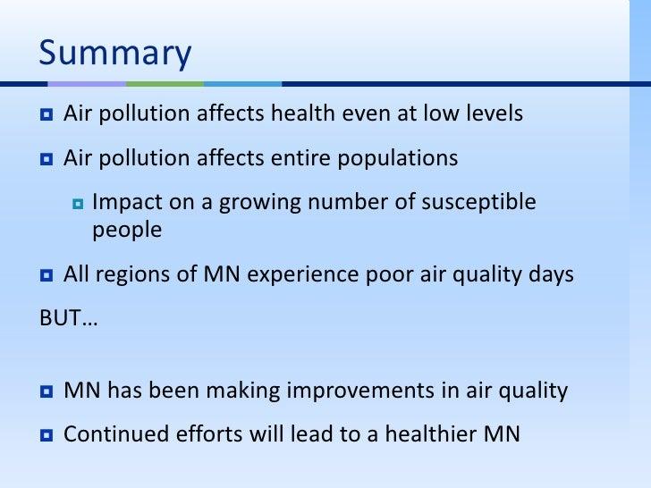 Summary of pollution
