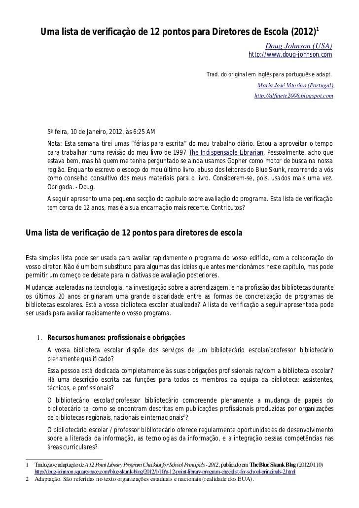 Uma lista de verificação de 12 pontos para Diretores de Escola (2012)1                                                    ...