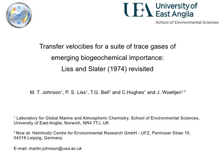 Transfer velocities for a suite of trace gases of  emerging biogeochemical importance:  Liss and Slater (1974) revisited  ...