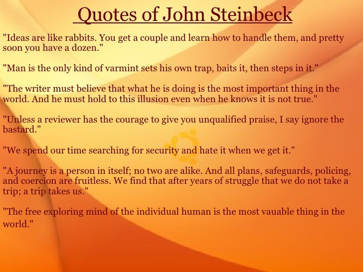 life of john steinbeck essay Need writing essay about life of john steinbeck order your unique college paper and have a+ grades or get access to database of 8 life of john steinbeck essays samples.