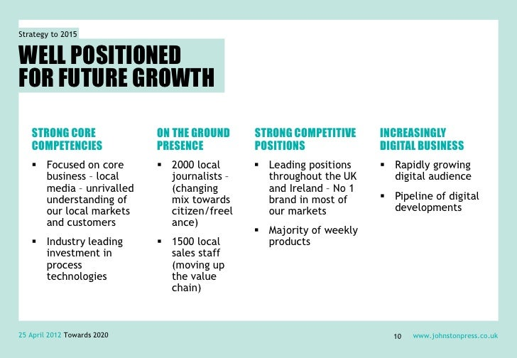 Strategy to 2015WELL POSITIONEDFOR FUTURE GROWTH   STRONG CORE               ON THE GROUND     STRONG COMPETITIVE     INCR...