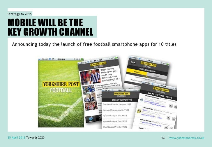 Strategy to 2015MOBILE WILL BE THEKEY GROWTH CHANNEL   Announcing today the launch of free football smartphone apps for 10...