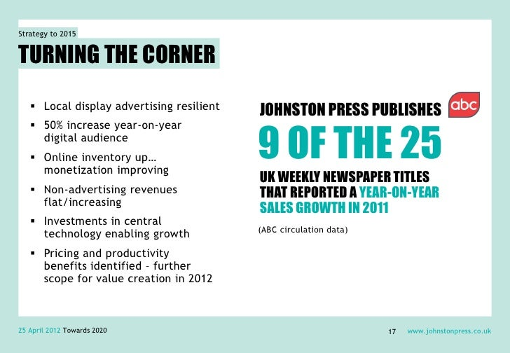 Strategy to 2015TURNING THE CORNER    Local display advertising resilient   JOHNSTON PRESS PUBLISHES                     ...