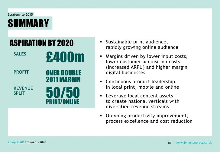 Strategy to 2015SUMMARY ASPIRATION BY 2020                      Sustainable print audience,                              ...