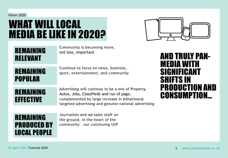 Vision 2020WHAT WILL LOCALMEDIA BE LIKE IN 2020?                             Community is becoming more,    REMAINING     ...