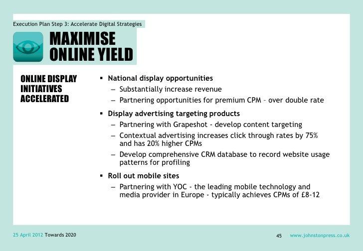 Execution Plan Step 3: Accelerate Digital Strategies               MAXIMISE               ONLINE YIELD   ONLINE DISPLAY   ...