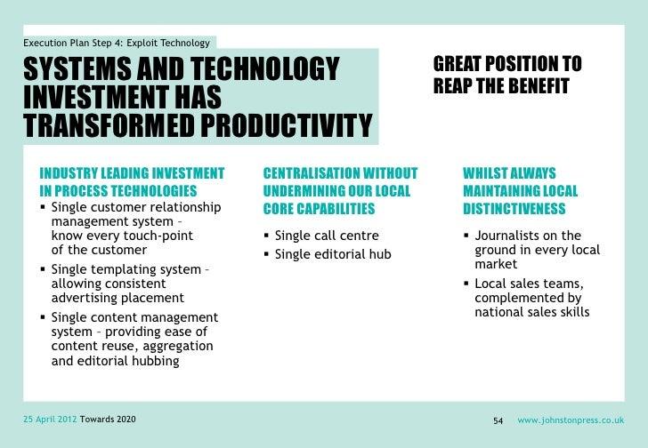 Execution Plan Step 4: Exploit TechnologySYSTEMS AND TECHNOLOGY                                               GREAT POSITI...