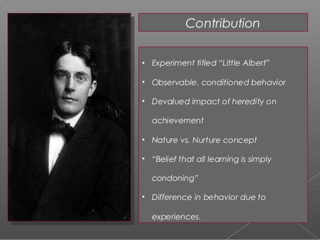 an introduction to the psychology by john b watson John watson (1) 1 behavior: an introduction to comparative psychology, in 1914 in 1920, john b watson and rosalie rayner performed a conditioning experiment on an infant by the name of albert b.