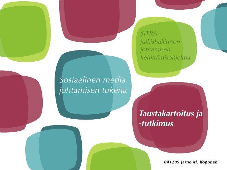 SITRA -                     julkishallinnon                     johtamisen                     kehittämisohjelma   Sosiaal...