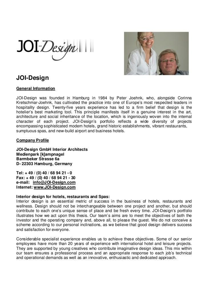 JOI-DesignGeneral InformationJOI-Design was founded in Hamburg in 1984 by Peter Joehnk, who, alongside CorinnaKretschmar-J...