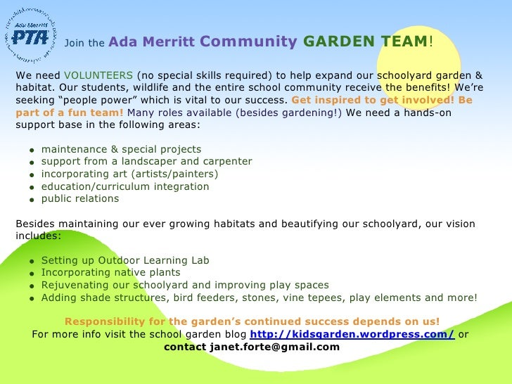 Join the   Ada Merritt Community GARDEN TEAM!  We need VOLUNTEERS (no special skills required) to help expand our schoolya...
