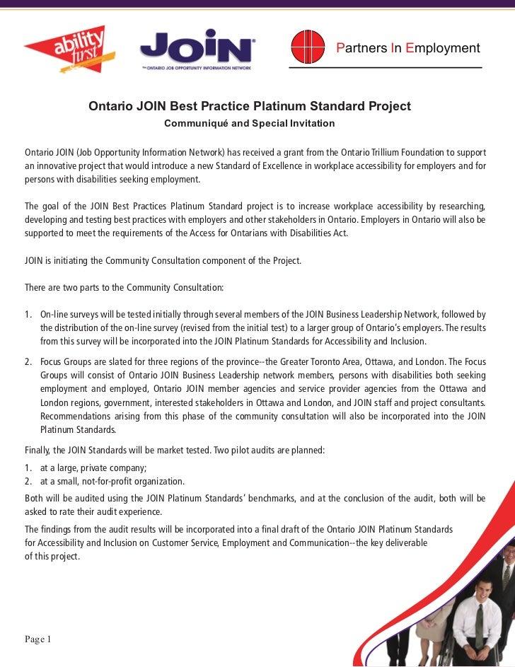Ontario JOIN Best Practice Platinum Standard Project                                      Communiqué and Special Invitatio...