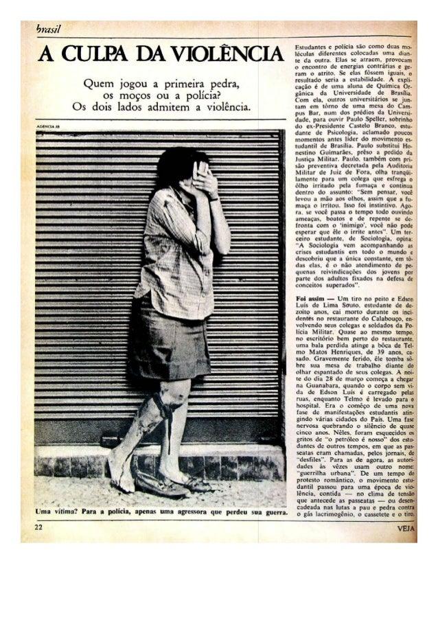 """""""A culpa da violência"""", reportagem da Revista Veja de 11 de Setembro de 1968."""