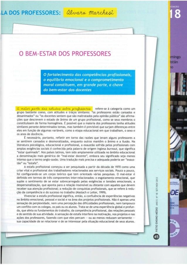 O bem-estar dos professores - Álvaro Marchesi