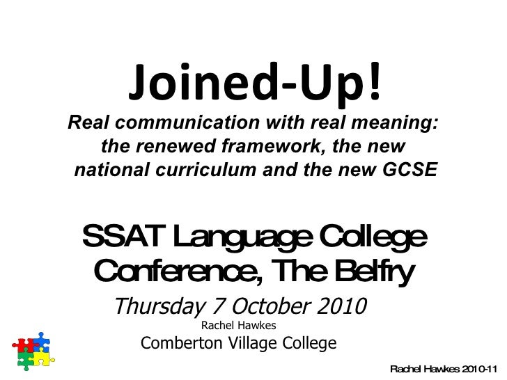 SSAT Language College Conference, The Belfry Thursday 7 October 2010 Rachel Hawkes Comberton Village College Rachel Hawkes...