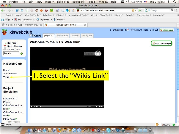 """1. Select the """"Wikis Link"""""""