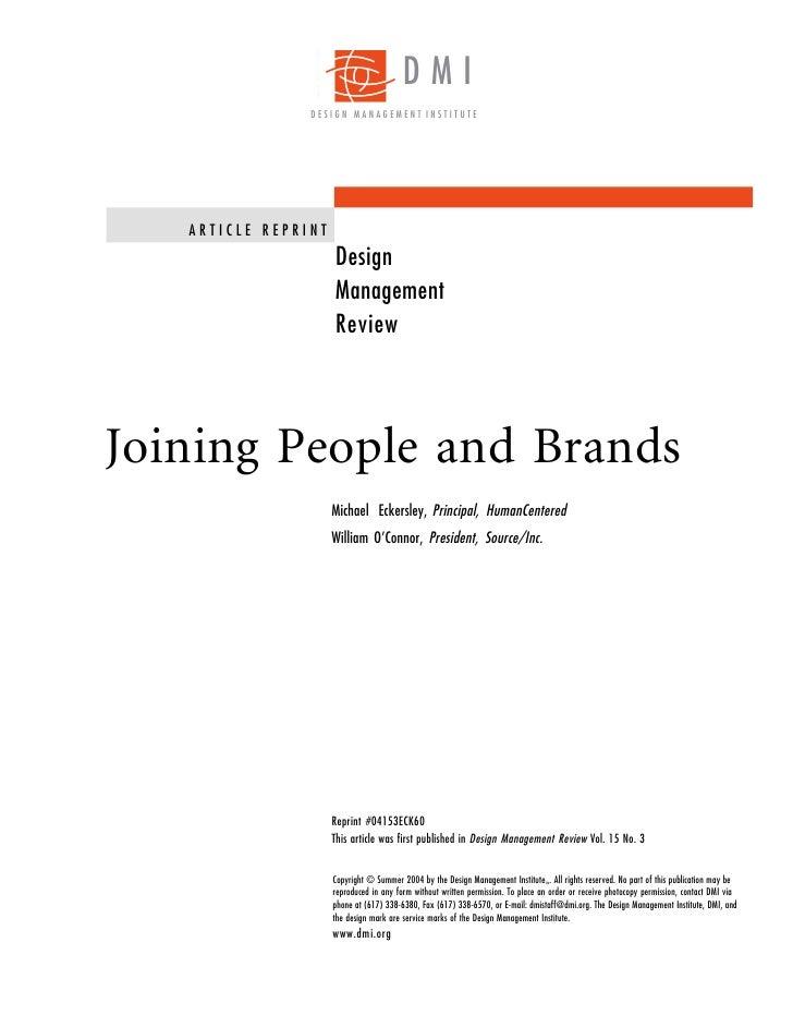 DMI                 DESIGN MANAGEMENT INSTITUTE        ARTICLE REPRINT                      Design                      Ma...