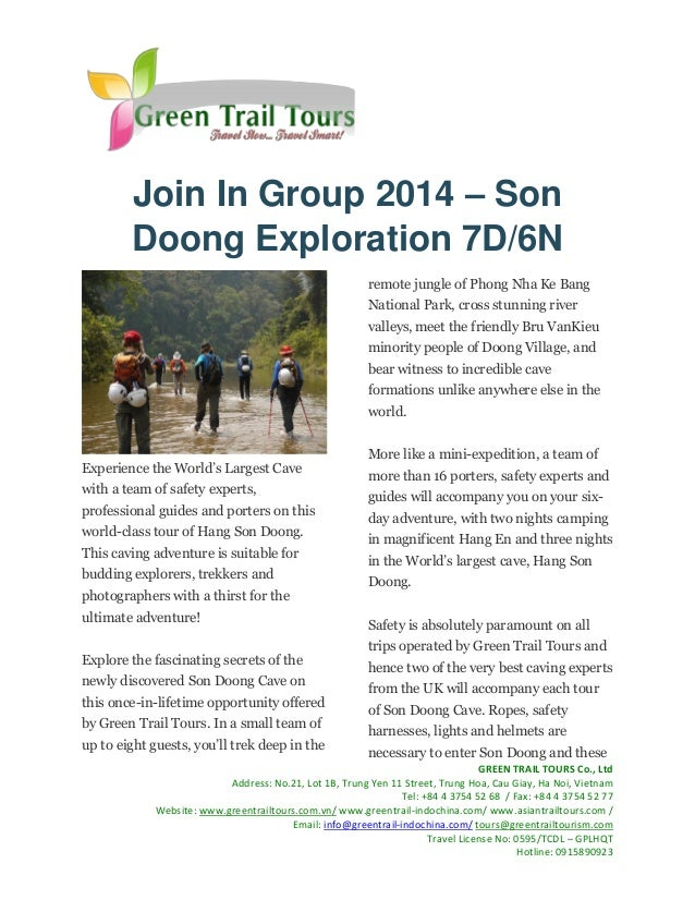 Join In Group 2014 – Son Doong Exploration 7D/6N remote jungle of Phong Nha Ke Bang National Park, cross stunning river va...