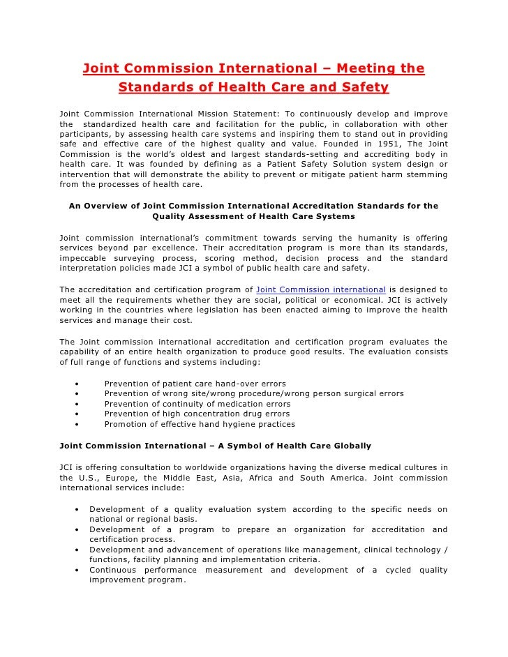 Joint Commission International – Meeting the            Standards of Health Care and SafetyJoint Commission International ...