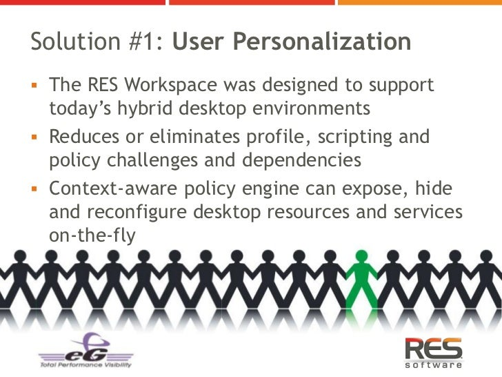 Solution #1: User Personalization The RES Workspace was designed to support  today's hybrid desktop environments Reduces...